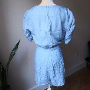 Zara Pants - ZARA   Chambray Romper Large    ruched sleeves